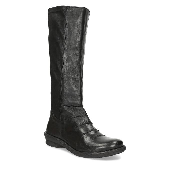 Černé kožené dámské kozačky s prošitím bata, černá, 596-6698 - 13