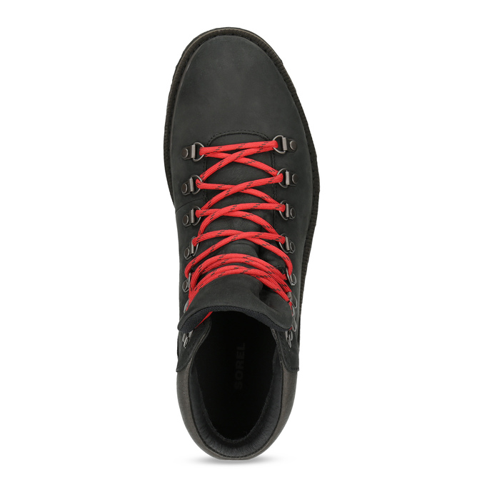 Pánská kožená kotníková obuv s červenými tkaničkami sorel, černá, 826-6009 - 17