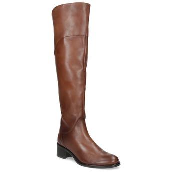 Kožené kozačky nad koleno hnědé bata, hnědá, 694-4666 - 13