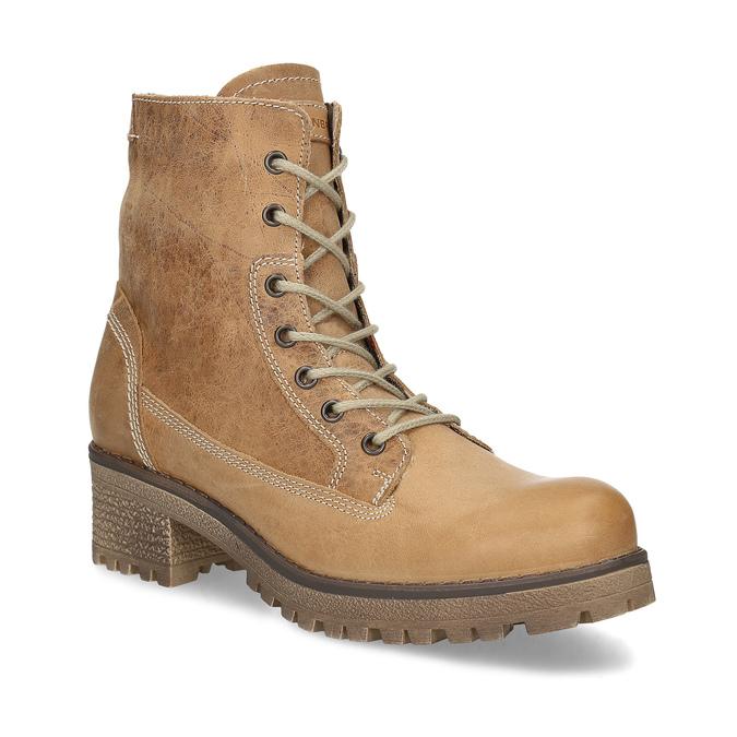 Dámská hnědá kožená kotníčková obuv weinbrenner, hnědá, 696-3668 - 13