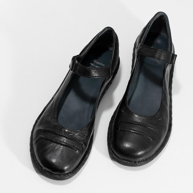 Kožené černé baleríny s páskem bata, černá, 526-6664 - 16