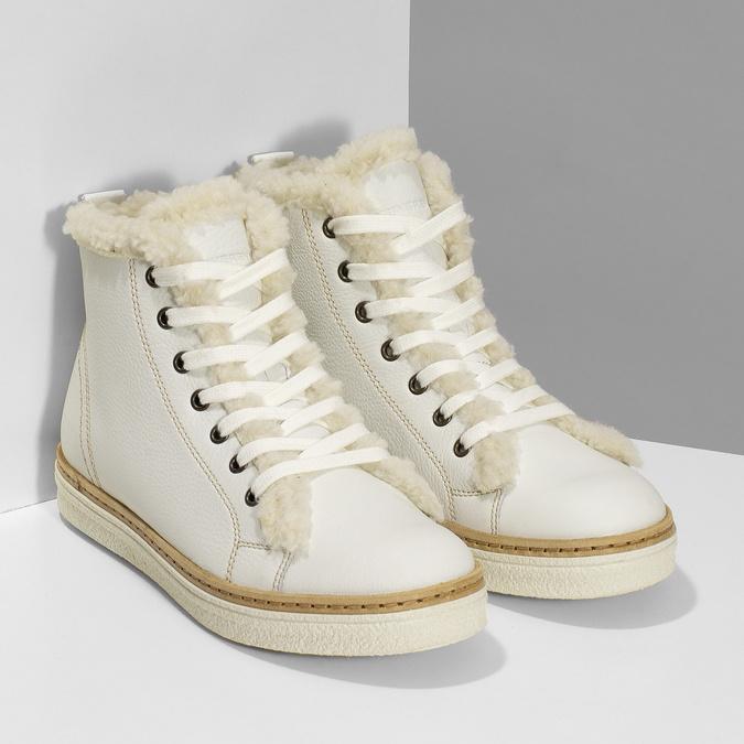 Bílá dámská kožená kotníčková obuv weinbrenner, bílá, 596-1754 - 26