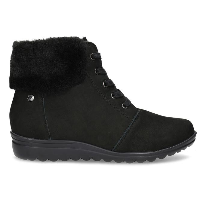 Kotníčková dámská kožená obuv comfit, černá, 596-6711 - 19