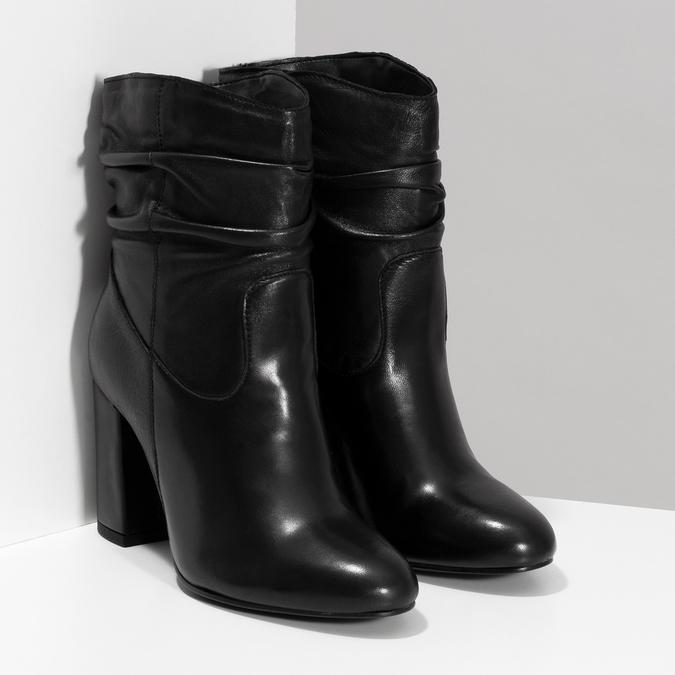 Černé kožené kozačky s řasením bata, černá, 794-6663 - 26