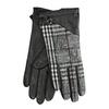 Dámské kožené rukavice kárované černé bata, černá, 904-6138 - 13