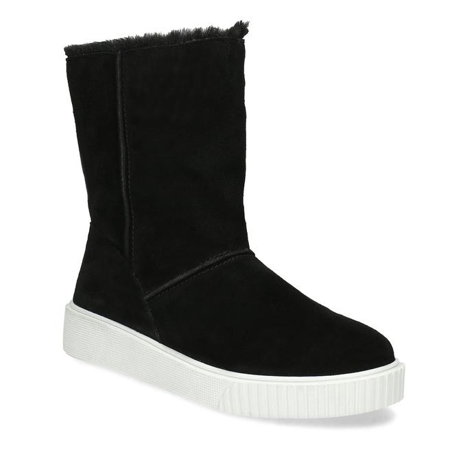 Zimní kožená obuv černá s bílou podešví bata, černá, 593-6613 - 13