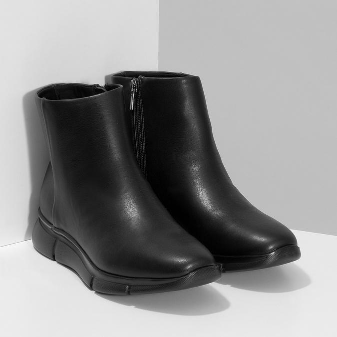 Dámská černá kotníčková obuv hladká bata-b-flex, černá, 591-6636 - 26