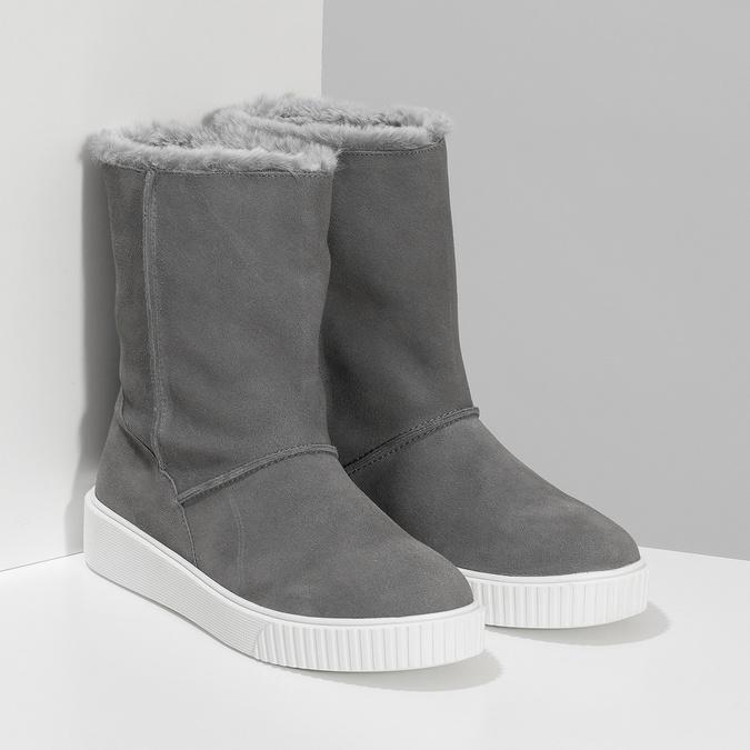 Dámská zimní kožená obuv šedá bata, šedá, 593-2613 - 26