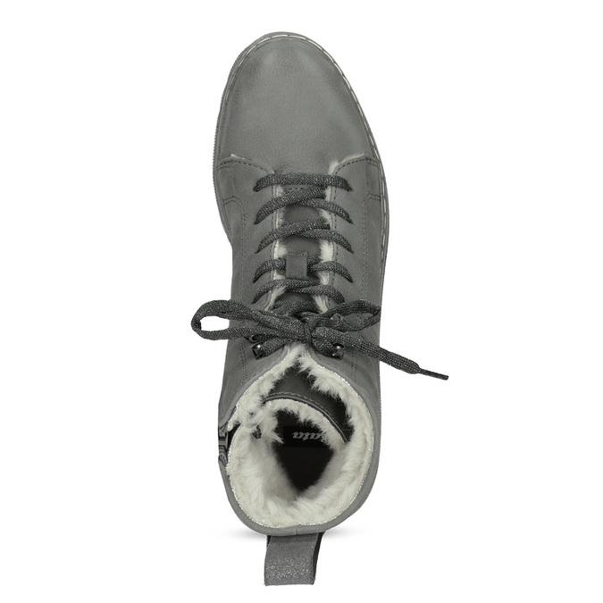 Kotníčková dámská kožená zimní obuv bata, šedá, 596-2713 - 17
