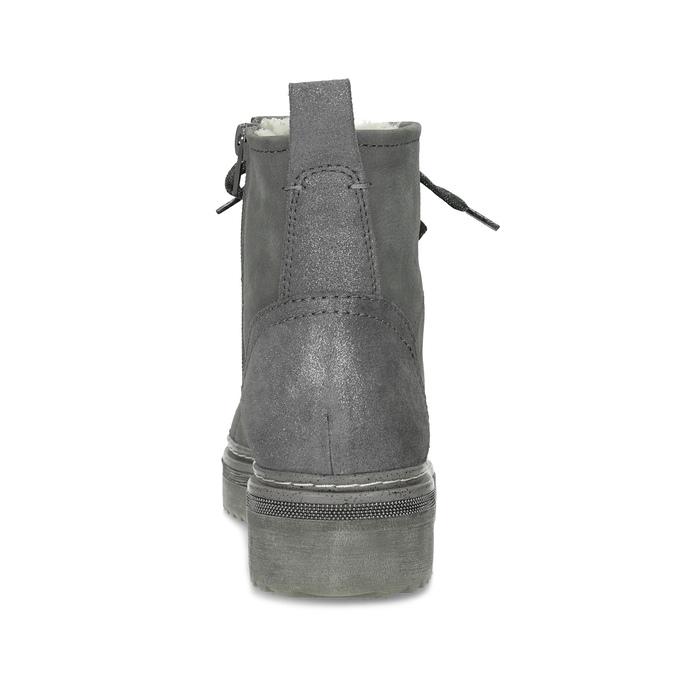 Kotníčková dámská kožená zimní obuv bata, šedá, 596-2713 - 15