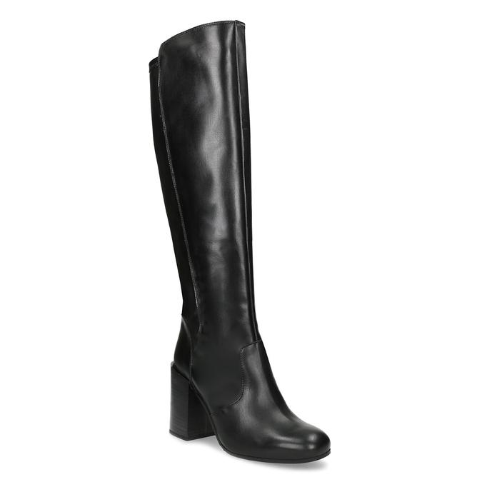 Černé kožené kozačky na podpatku bata, černá, 796-6662 - 13