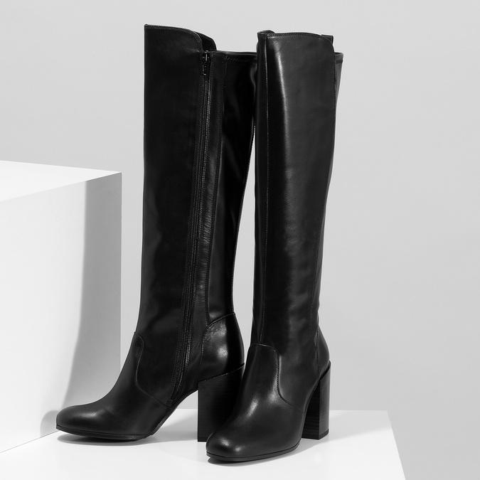 Černé kožené kozačky na podpatku bata, černá, 796-6662 - 16