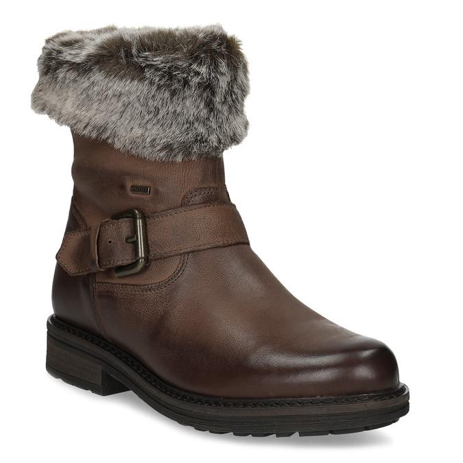 Dámská zimní kožená obuv s kožíškem bata, hnědá, 596-4701 - 13