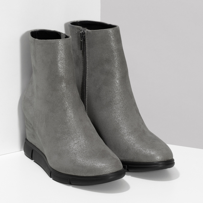 Dámská kotníčková obuv na klínku stříbrná bata-b-flex, stříbrná, 799-2642 - 26