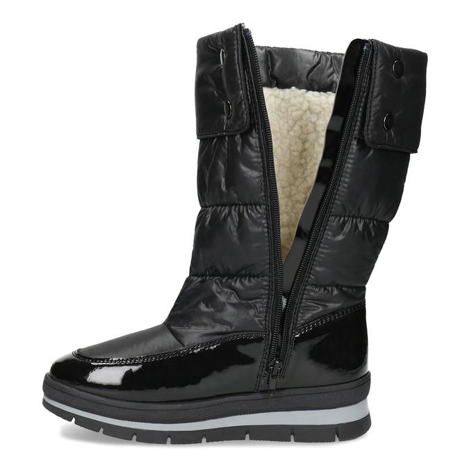 Dámská černá zimní obuv  s výraznou podešví bata, černá, 599-6622 - 17