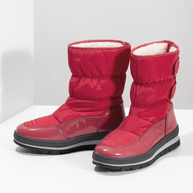 Červené dámské sněhule s černou podešví bata, červená, 599-5625 - 16