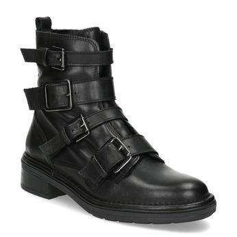 Černá kožená kotníková obuv s přezkami bata, černá, 596-6735 - 13