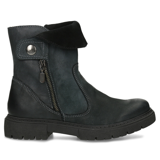 Dámská kožená zimní obuv s prošitím weinbrenner, černá, 596-6751 - 19