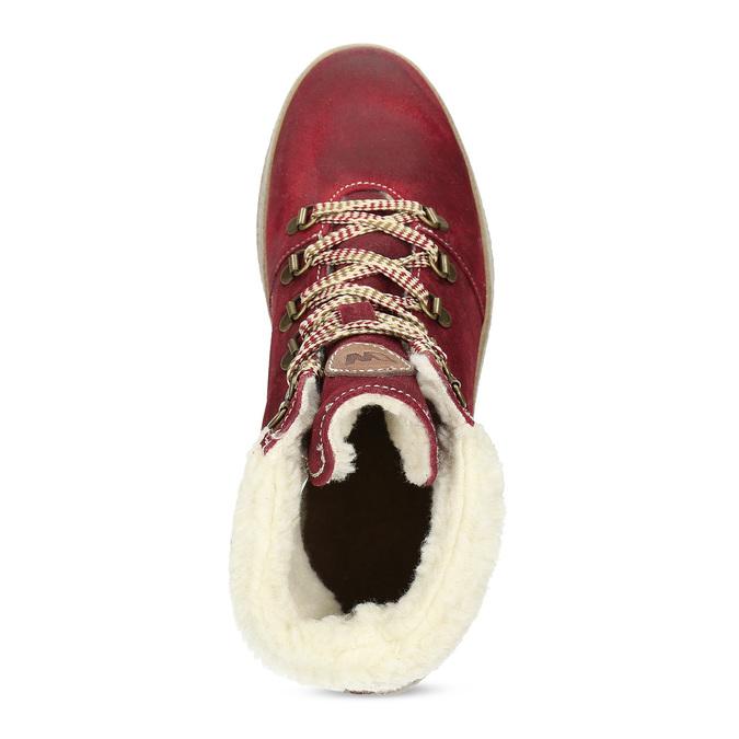 Kožená vínová dámská kotníčková obuv weinbrenner, červená, 596-5756 - 17