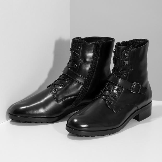 Dámská kožená kotníčková obuv s vysokým šněrováním hogl, černá, 524-6064 - 16