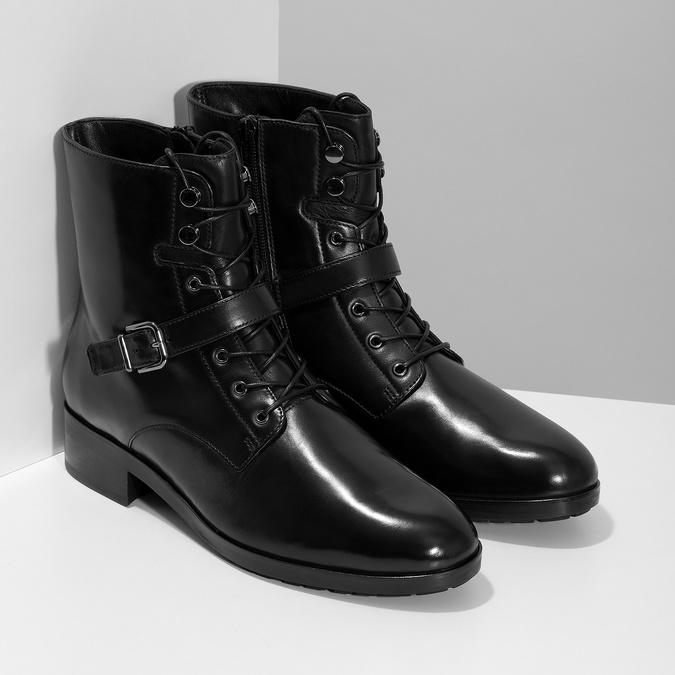 Dámská kožená kotníčková obuv s vysokým šněrováním hogl, černá, 524-6064 - 26