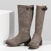 Béžové dámské kozačky s kožíškem bata, hnědá, 691-3643 - 16