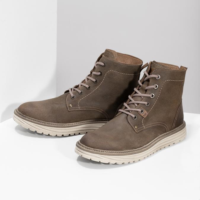 Pánská kotníčková obuv z broušené kůže weinbrenner, hnědá, 896-4734 - 16