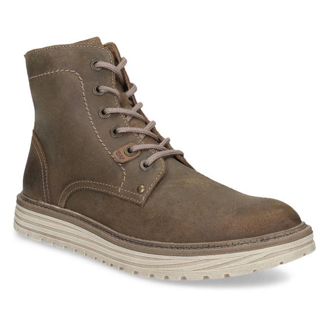 Pánská kotníčková obuv z broušené kůže weinbrenner, hnědá, 896-4734 - 13