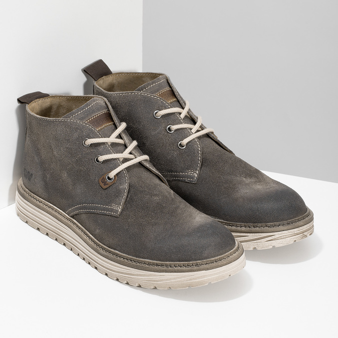Pánská kotníčková obuv z broušené kůže weinbrenner, šedá, 896-2735 - 26