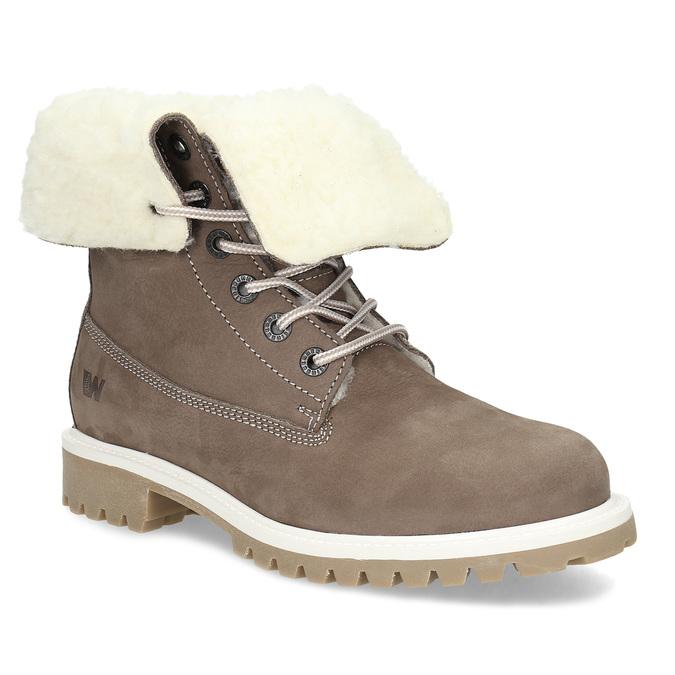 Hnědá dámská kožená zimní obuv weinbrenner, hnědá, 596-4727 - 13