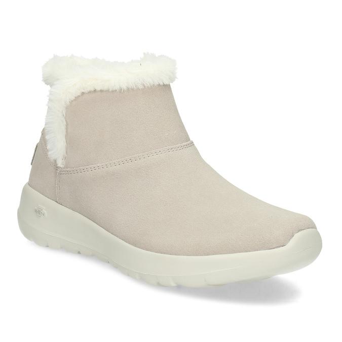 Kožená zimní obuv s kožíškem béžová skechers, béžová, 503-8124 - 13