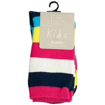 Vysoké dětské pruhované ponožky bata, vícebarevné, 919-5688 - 13