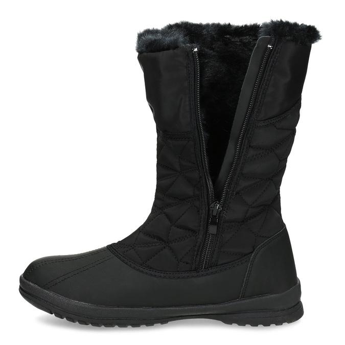Dámská černá zimní obuv s prošíváním bata, černá, 599-6624 - 17