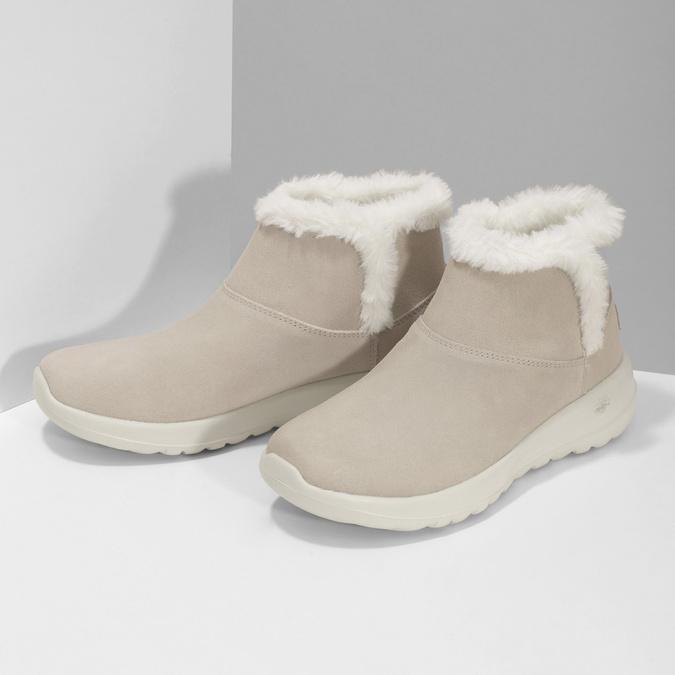Kožená zimní obuv s kožíškem béžová skechers, béžová, 503-8124 - 16
