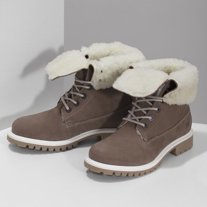 Hnědá dámská kožená zimní obuv weinbrenner, hnědá, 596-4727 - 16