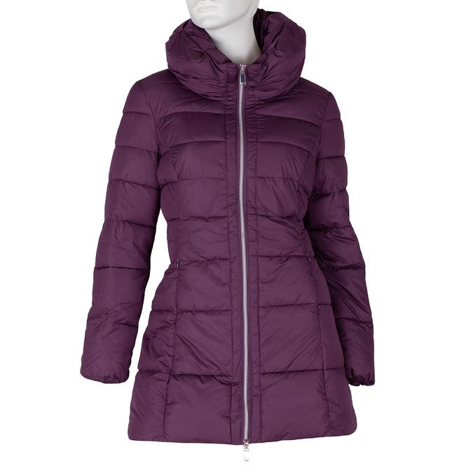 Dlouhá dámská fialová bunda s prošitím bata, fialová, 979-0348 - 13