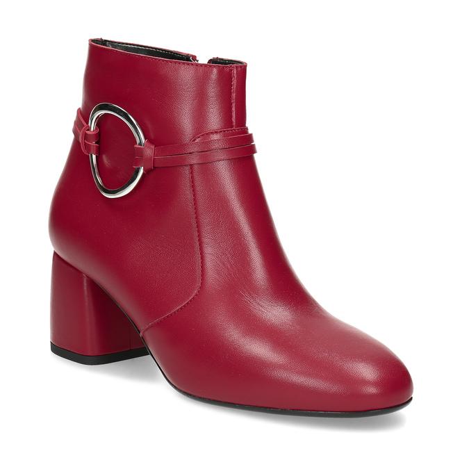 Červené kožené kotníčkové kozačky s přezkou bata, červená, 794-5608 - 13