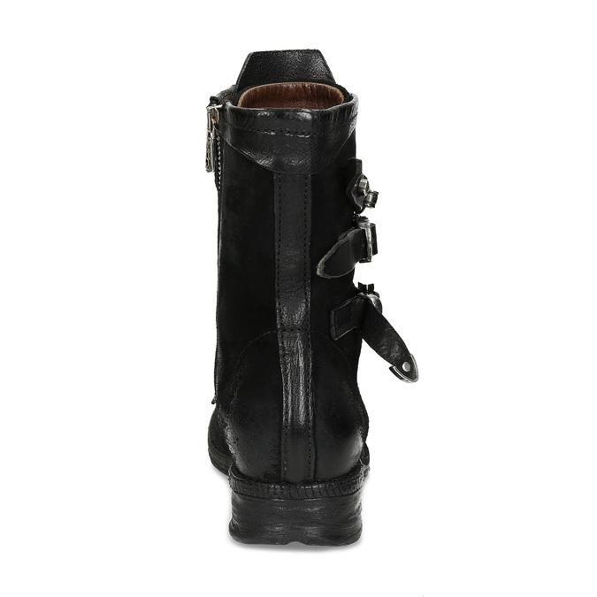 Kožená kotníčková obuv s přezkami černá a-s-98, černá, 626-6086 - 15