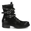 Kožená kotníčková obuv s přezkami černá a-s-98, černá, 626-6086 - 19
