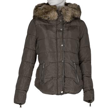 Khaki dámská bunda s kapucí a kožíškem bata, khaki, 979-8332 - 13
