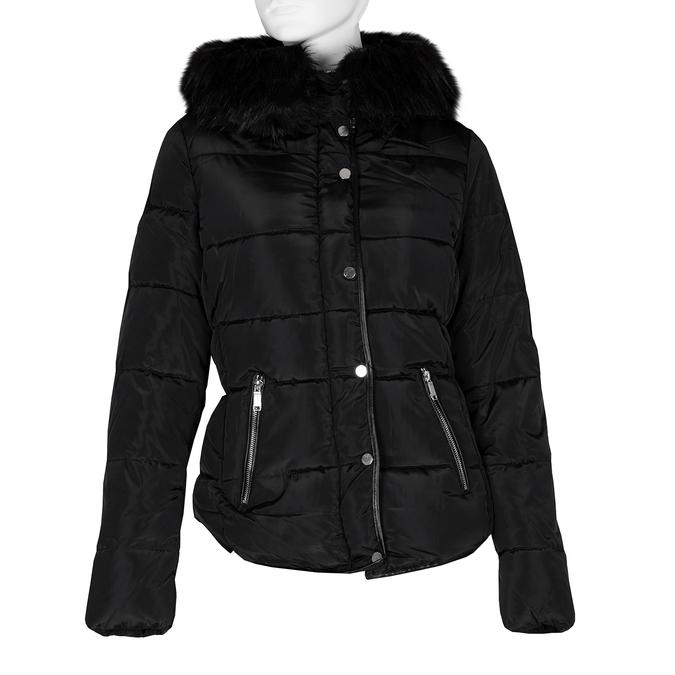 Dámská černá bunda s kapucí a kožíškem bata, černá, 979-6332 - 13