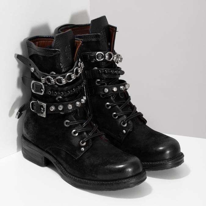 Kožená kotníčková obuv s přezkami černá a-s-98, černá, 626-6086 - 26