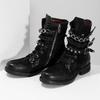 Kožená kotníčková obuv s přezkami černá a-s-98, černá, 626-6086 - 16