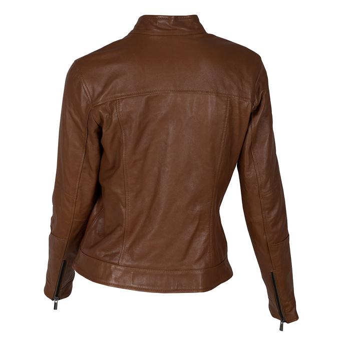 Dámská kožená hnědá bunda se stojáčkem bata, hnědá, 974-3106 - 26