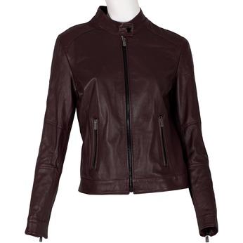 Vínová dámská kožená bunda s prošitím bata, červená, 974-5106 - 13