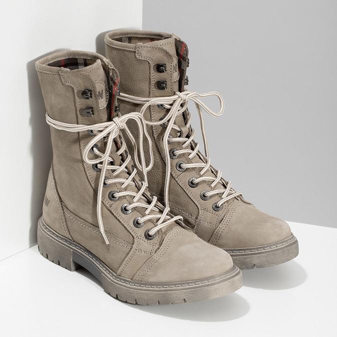 Béžová kožená dámská obuv vysoká weinbrenner, béžová, 596-8746 - 26