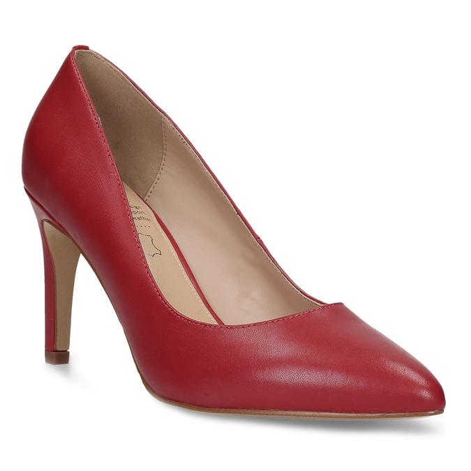 Červené kožené dámské lodičky na jehlovém podpatku insolia, červená, 724-5661 - 13