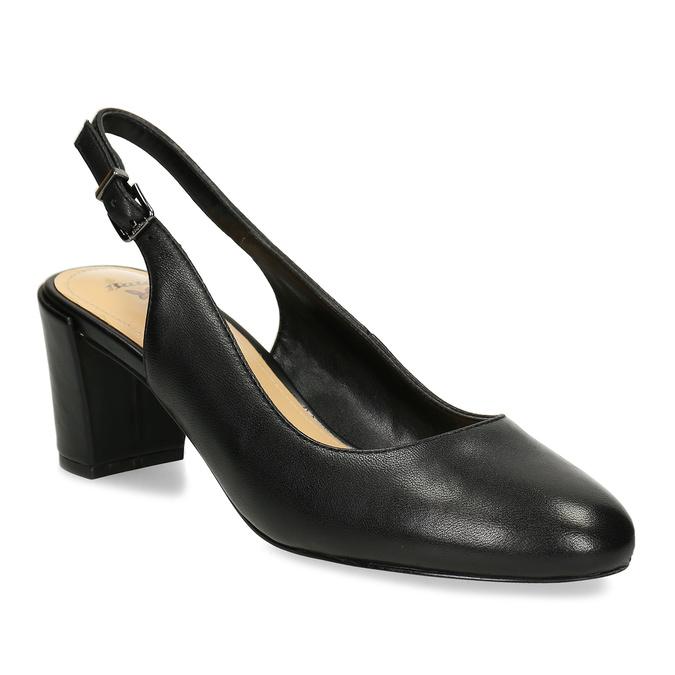 4a398e999f Insolia Černé kožené lodičky s otevřenou patou - Všechny boty