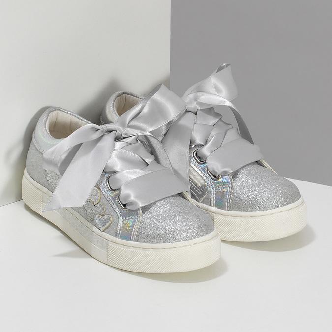 Stříbrné dívčí tenisky s mašlí mini-b, stříbrná, 321-2372 - 26