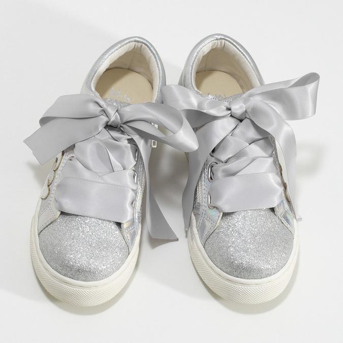 Stříbrné dívčí tenisky s mašlí mini-b, stříbrná, 321-2372 - 16